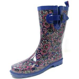"""Women 11"""" Mid-Calf Rubber Rain Boots"""